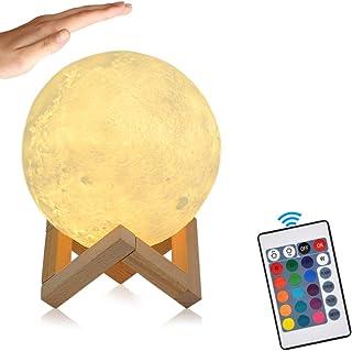 15cm LED Mond Lampe mit Fernbedienung Farbige Dekoleuchte 3D Mond Kunst LED RGB Mondlicht tragbares Nachtlicht mit Schlags...