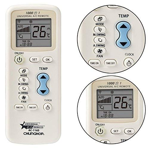 CHUNGHOP Mando a Distancia Universal 1000 En 1 para Aire Acondicionado Sunny Days Hogar AC-116S