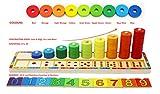 TOWO Anillos apilables de Madera - juego educativo apilador 45 Anillos para Aprender a Contar - Juguete Educativo de matemáticas para niños de 3 años - juegos infantiles educativos