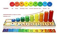 Base stabile con 9 aste e 45 anelli in legno grandi e dipinti con i colori dell'arcobaleno, con 10 blocchi numerati, smontabili e di forma quadrata. 43,3x11,6x11,5cm Puoi infilare, contare e abbinare: infila gli anelli sull'asticella vicina ai numeri...