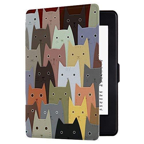 Huasiru Pintura Caso Funda para Kindle Paperwhite (Versiones 2012, 2013, 2015, 2016 y 2017), no es Compatible con la versión del 2018 (10.ª generación) - Gatos