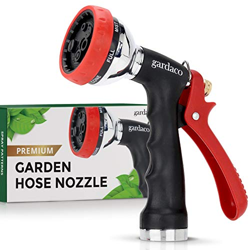 Dependable Garden Hose Nozzle with Easy Grip Handle and 7 Pattern Aluminum Water Spray - for Easy Extended Use