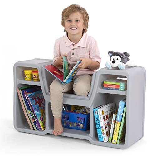 Simplay3 Cozy Cubby Reading Nook Bookshelf with Built-in Seat for Children Ages 2-6
