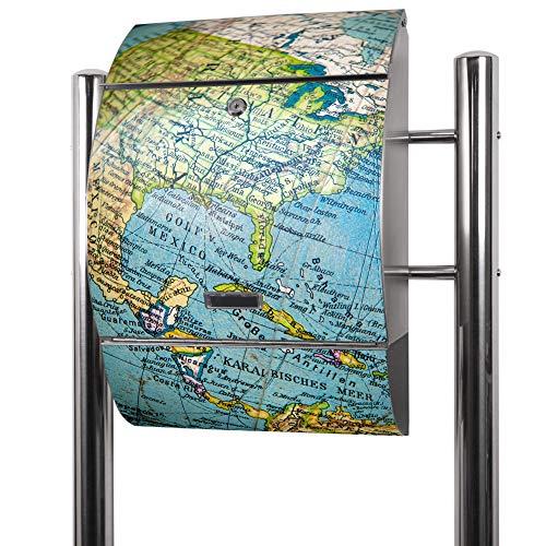 Banjado Briefkasten Edelstahl mit Ständer | Postkasten freistehend 126x53x17cm | Standbriefkasten mit Zeitungsfach und Namensschild Motiv Globus