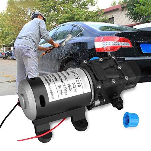 Solong Hogedruk-waterpomp, 12 V DC, 100 W, 8 l/min, 160 psi, zelfaanzuigende waterpomp met membraan, waterpomp voor camper, auto, boot, reiniging en irrigatie in de tuin