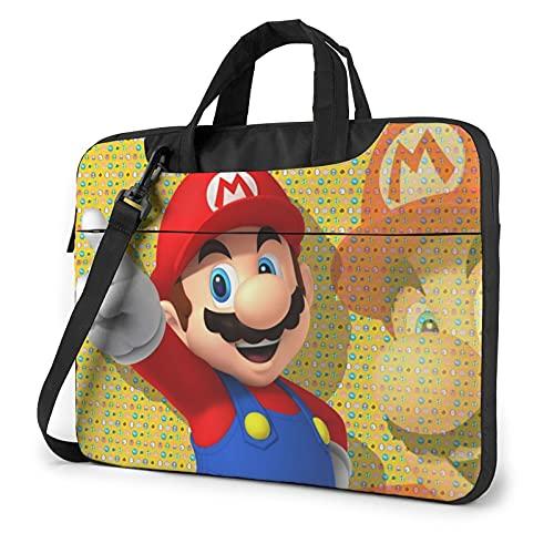 Super Mario Laptop-Hülle / Umhängetasche, tragbar, mit Cartoon-Motiv Gr. 40 cm, Schwarz