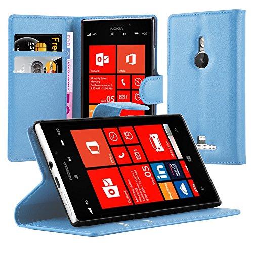 Cadorabo Hülle für Nokia Lumia 925 - Hülle in Pastel BLAU – Handyhülle mit Kartenfach und Standfunktion - Case Cover Schutzhülle Etui Tasche Book Klapp Style