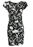 STYLE FASHION-Women Leopard Skull Rose Zebra Camouflage Print Cap Sleeve Bodycon Dress by