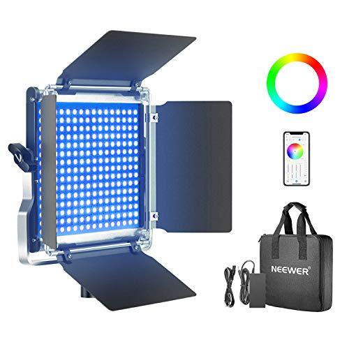 Neewer 660 RGB LED Lampe avec Contrôle d'APP, 660 SMD LEDs CRI95 3200K-5600K Luminosité 0-100%, 0-360 Couleurs Réglables, 11 Scènes Applicables avec LCD Écran, Support U, Barndoor, Coque Métallique