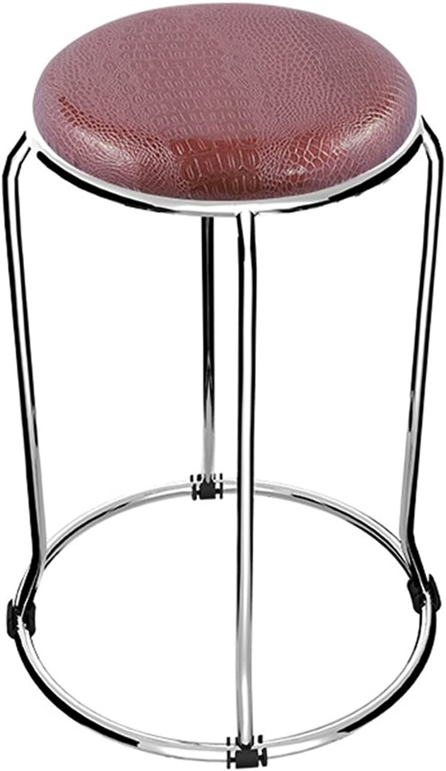 Fashion Stainless Steel Small Round Stool Soft Leather Chair Table High Stool (Wine Red D37cmH47cm)