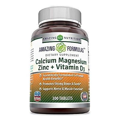 Amazing Formulas Calcium Magnesium Zinc + D3-Tablets (Non-GMO,Gluten Free) (Calcium 1000mg - Magnesium 400mg - Zinc 25mg Plus Vitamin D3 600 IU - Per Serving of 3 Tablets)