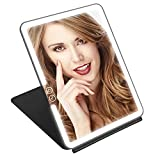 KEDSUM Rechargeable Lighted Makeup Mirror with Cover, Super Bright LED Travel Mirror with Lights, Compact Light Vanity...