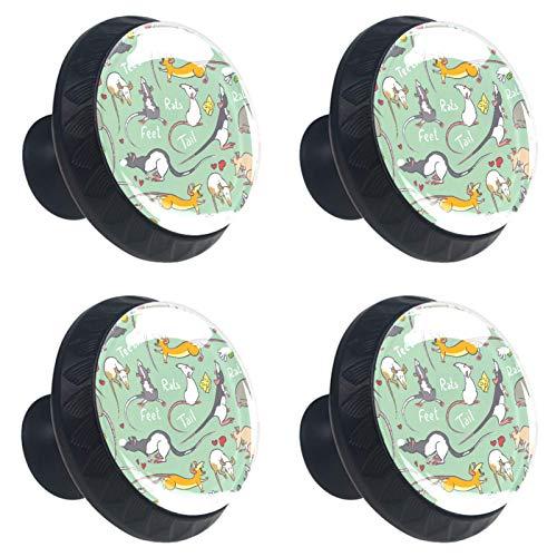 ATOMO 4 pomos de cristal verde para cajón de 30 mm con diseño de ratas y animales, para armario, cajón