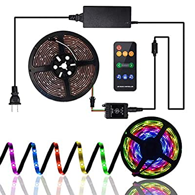 Led Strip Lights Sync to Music, QM-STVR Waterproof RGB 5050 5M/16.54ft Led Rope Lights, RF Remote Led Lights Strip Rope Lights with 12V for home/party/garden/Christmas/wedding