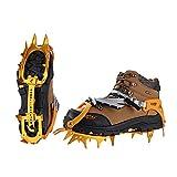 BRS-S3 Ultralight 14 Teeth Aluminium Alloy Bundled Crampons Ice Gripper Outdoor Ice Climbing Kits Crampons for Footwear (Golden)