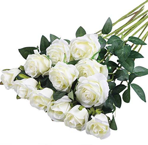 Hawesome 12pcs künstliche Rosen Seidenrosen Kunstblumen 6 Blüten & 6 Knospen Blumenstrauß Dekoration Hochzeit Wohnzimmer Party Blumenarrangement Cafe dekorative Blumen weiß rot rosa violett