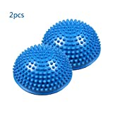 2Pcs Blue Anti-Slip Foot Massage Ball Yoga Half Ball, 16cm/6.5inch Massage Mat Exercise Balance Pods Spiky Point for Gym Fitness Pilates