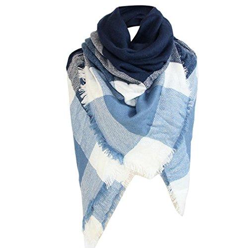 OVERDOSE Schal, Winter Decke Square Frauen Schal Stripe Kariert Schals Halstücher Halstuch Tücher Schlauchschal