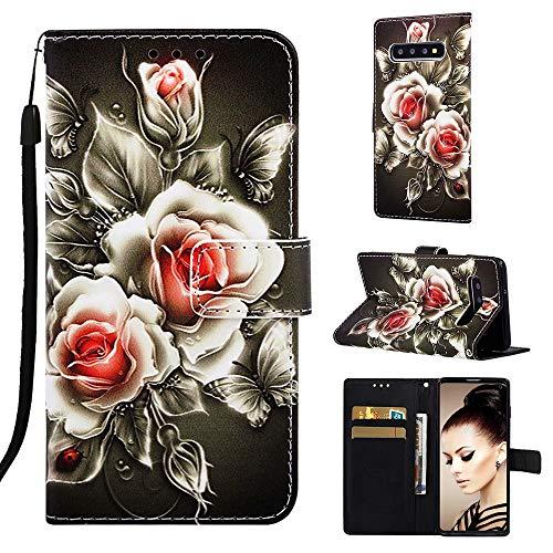 TTNAO Funda Samsung Galaxy S10 PU Leather Bolsillo para Tarjetas Plegable Cartera Flip Folio Cierre Magnético Cover Antichoque Carcasa Case(Rosa)