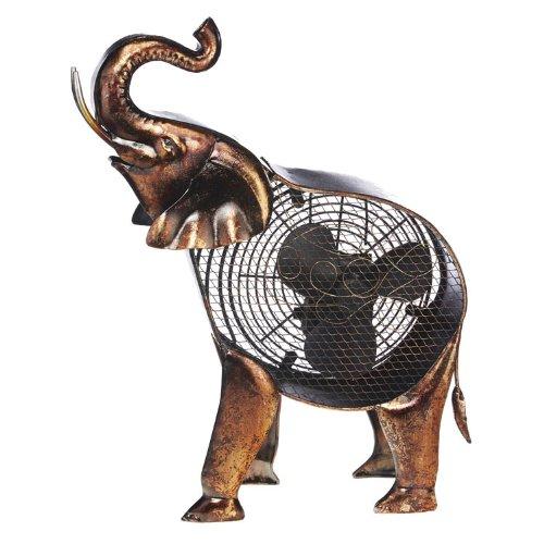 DecoBREEZE Decorative Table Fan, Desk Fan, Two Speed Electric Tabletop Fan, Figurine Fan, 7 inch, African Elephant