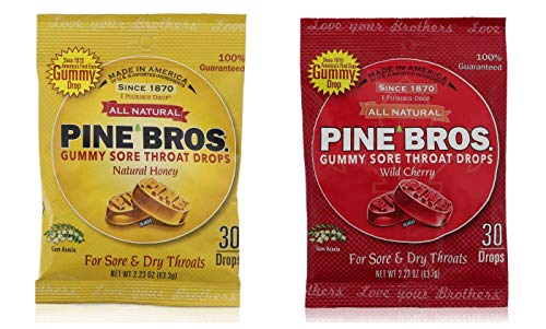 Pine Bros. Bundle-Two Flavors Softish Throat Drops, Natural Honey 30 Ct / Wild Cherry 30 Ct
