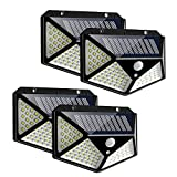 LCF Solar Lights Outdoor, New Upgraded 100 LED Motion Sensor Security Wall Night Light, 270° Wide Angle, IP65 Waterproof, 3 Optional Modes, Easy-to-Install for Garden Patio Yard Fence Garage(4 Pack)
