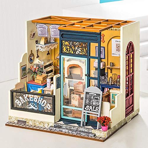 Casa de muñecas de bricolaje para regalo de cumpleaños Nancys Bake Shop Building puzzle modelo tridimensional de madera