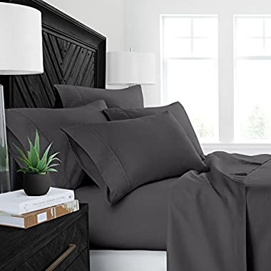 Sleep Restoration Luxury Bed Sheets with All-Natural Pure Aloe Vera Treatment - Eco-Friendly, Hypoallergenic 4-Piece Sheet Set Infused with Soothing/Moisturizing Aloe Vera - King - Gray