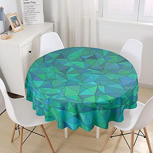 Himlaya Manteles Mesa Redonda, Geometría Impresión Manteles Impermeable Mantelerias Antimanchas Mantel de Mesa para Salón Cocina Comedor Decoración (Turquesa Argyle,100cm)