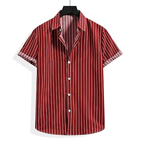 JinFZ Camisa Holgada Cómoda Hawaii Hombre Camisa con Botones Estampados A La Moda Camisa Playa con Cuello Kent Camisa Informal Tendencia Moderna B-002 L