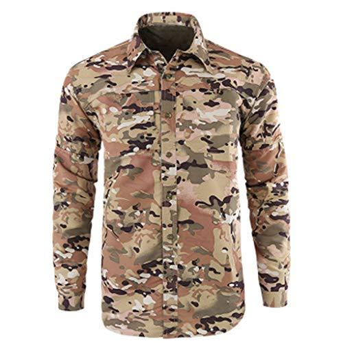 Xmiral Shirt Hemd Herren Schnelltrocknendes Lässiges Langarm T-Shirt mit Farbmuster für Das Militär Sweatshirt Hemden Polohemd Tanktop(b Tarnung,S)
