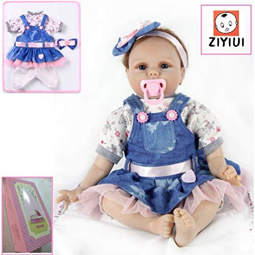 ZIYIUI Hecho a Mano 55 cm 22 Pulgadas Vinilo de Silicona Suave Muñeca Reborn Doll Realidad Bebé Recién Nacido Chica Juguete magnético Barato Regalo de Navidad