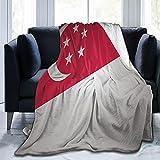 Singapur-Flaggen-Flanelldecke, flauschig, bequem, warm, leicht, weich, Überwurf für Sofa, Couch, Schlafzimmer