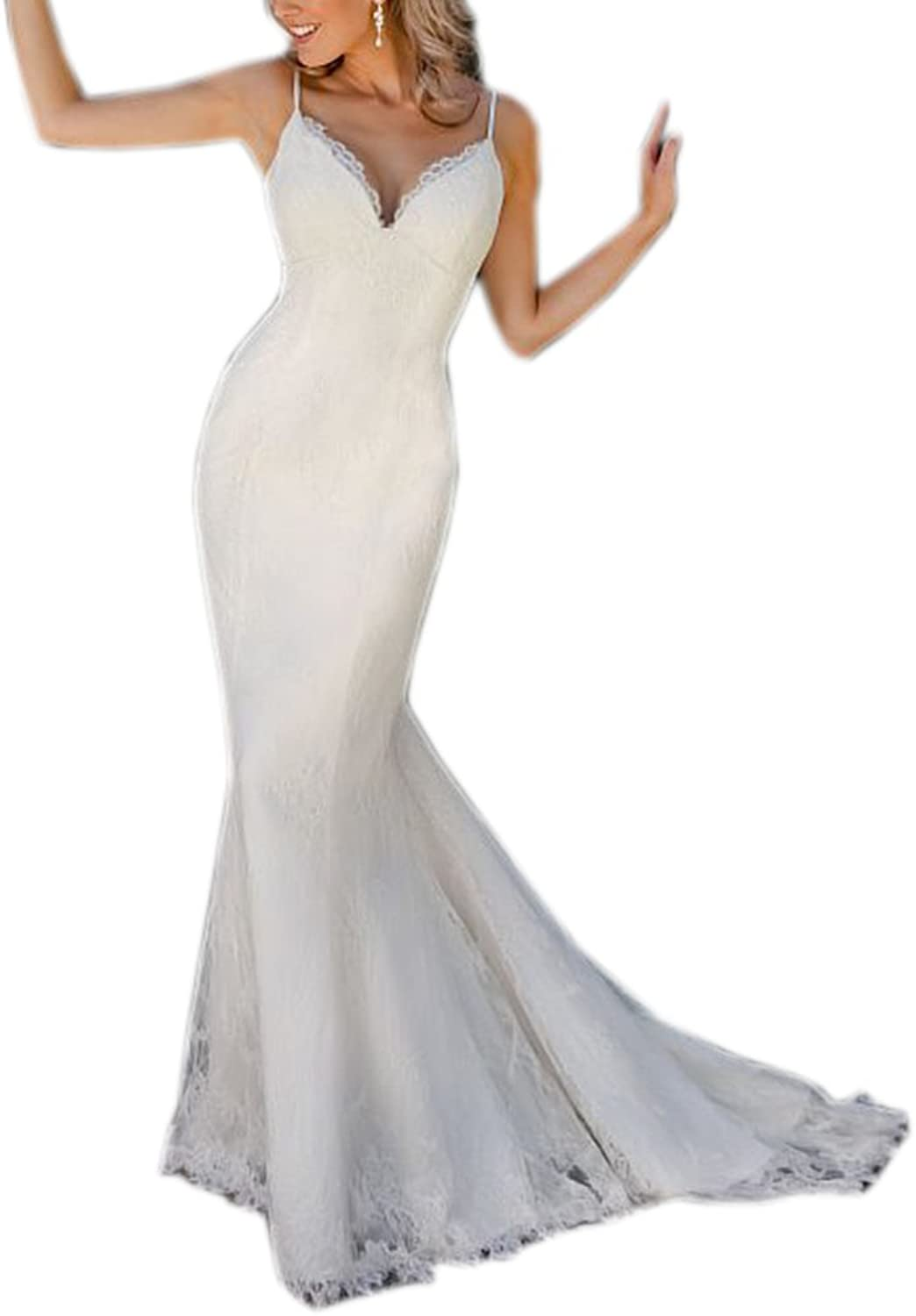 Datangep Women's VNeck Straps Backless Lace Sweep Train Beach Wedding Dress