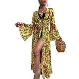 Pareo de Bikini para Mujer Cover Up para Playa Estampado Palmas Cárdigan Largo Mangas Largas Estilo Bohemio Bata Kimono Mujer Playa para Verano (Amarillo, M)