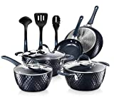 Nutrichef NCCW11DS Nonstick Cookware Excilon Home Kitchen Ware Pots & Pan Set with Saucepan Frying Pans, Cooking Pots, Lids, Utensil PTFE/PFOA/PFOS free, 11 Pcs, Blue Diamond
