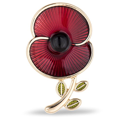 The Poppy Collection  Enamel and Leaf Brooch Medium Gold