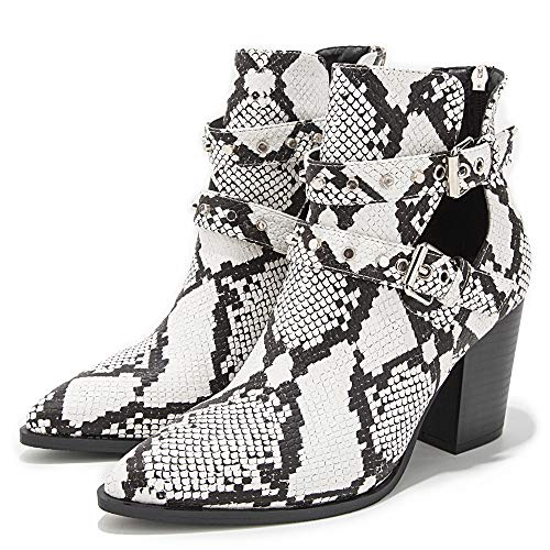 LALA IKAI Women's Snakeskin Print Ankle Boots Pointed Toe Hollow Out Buckle Chunky Mid Heel Booties with Rivet White