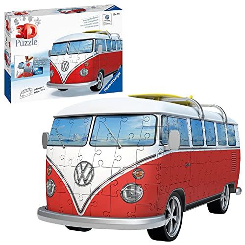 Ravensburger 3D Puzzle 12516 - Volkswagen T1 - 3D Puzzle für Erwachsene und Kinder ab 10 Jahren, VW Bulli Modellauto, Modellbau ganz ohne Kleber