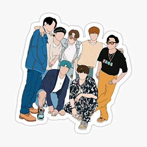 BTS Dynamite Group Picture Sticker - Sticker Graphic - Auto, Wall, Laptop, Cell, Truck Sticker for Windows, Cars, Trucks