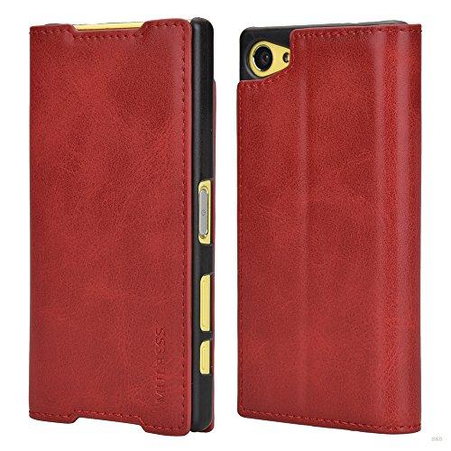 Mulbess Funda Sony Xperia Z5 Compact [Libro Caso Cubierta] Slim de Billetera Cuero de la PU Carcasa para Sony Xperia Z5 Compact Case, Vino Rojo