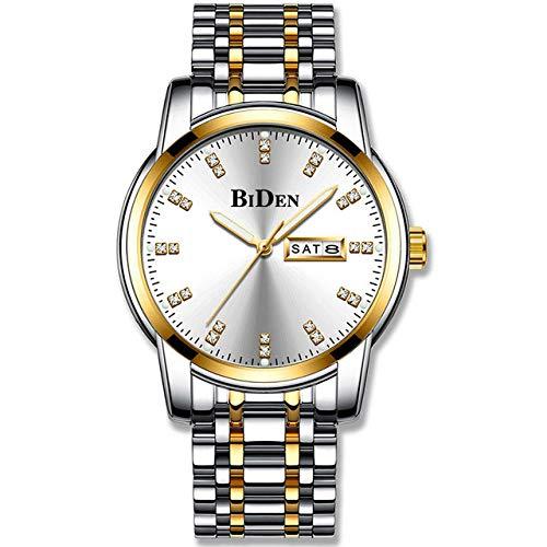 Relojes para Hombre Reloj Deportivo de Moda de Cuarzo con Correa de Acero Inoxidable -A
