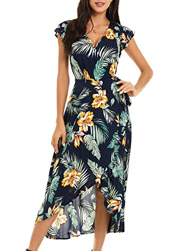 ZABERRY Wrap Maxi Dresses for Women Casual Beach Summer Dress with Short Sleeve(Navy Floral 2,XX-Large)