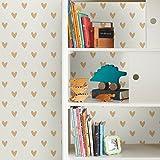 RoomMates - Papel pintado para pared, diseño de corazón dorado