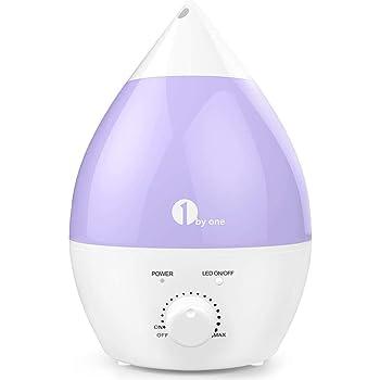 1 BY ONE Humidificador ultrasónico No Ruido 2.8 litros - Luces LED de 7 Colores - con la función Apagado automático para su hogar y Oficina