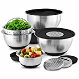 Wolfgang Puck 12 Piece Bistro Elite Stainless Steel Mixing Bowl and Prep Set, Includes Multi-Function Cover with Grating and Slicing Inserts, Black