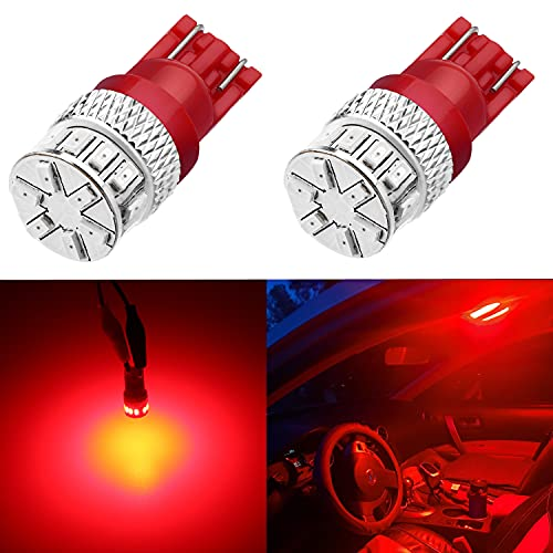 Alla Lighting Xtreme Super Bright 168 194 LED Lights Bulbs T10 Wedge 3014 18-SMD, Pure Red 12V W5W 2825 Cars, Trucks, Interior Dome/Map/Trunk/Courtesy/License/Marker Lights