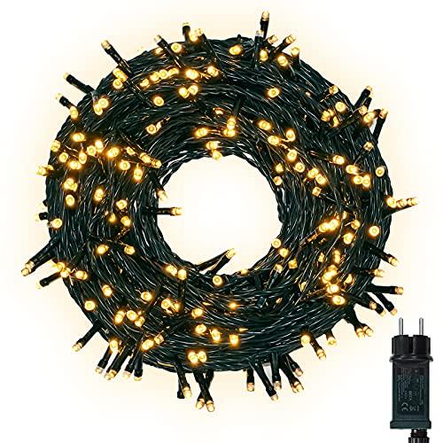 LED Lichterkette Außen, 30M 300LED Lichterkette Strom Warmweiß mit 8 Leuchtmodi & Speicherfunktion, IP44 Wasserdicht Weihnachtsbeleuchtung für Balkon, Garten, Party, Weihnachtsbaum, Innen, Aussen Deko