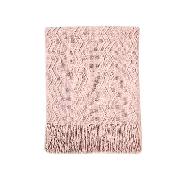 Bourina Textured Solid Soft Sofa Throw Couch Cover Knitted Decorative Blanket, 50″ x 60″, Pink