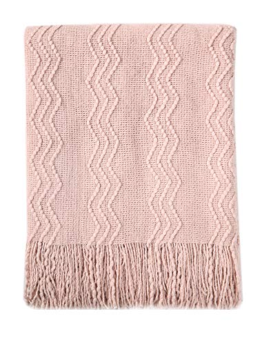 BOURINA Textured Solid Soft Sofa Throw Couch Cover Knitted Decorative Blanket, 50' x 60', Pink